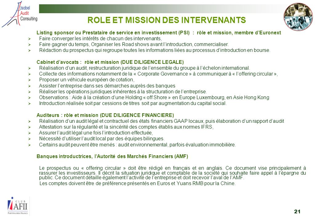 ROLE ET MISSION DES INTERVENANTS