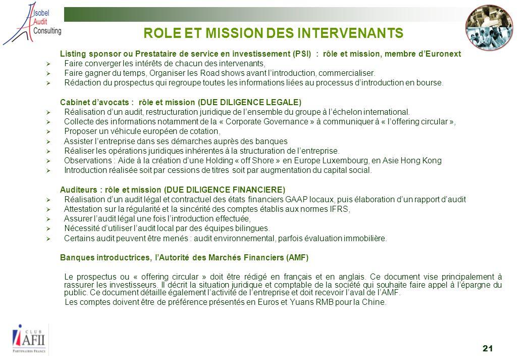 ROLE ET MISSION DES INTERVENANTS