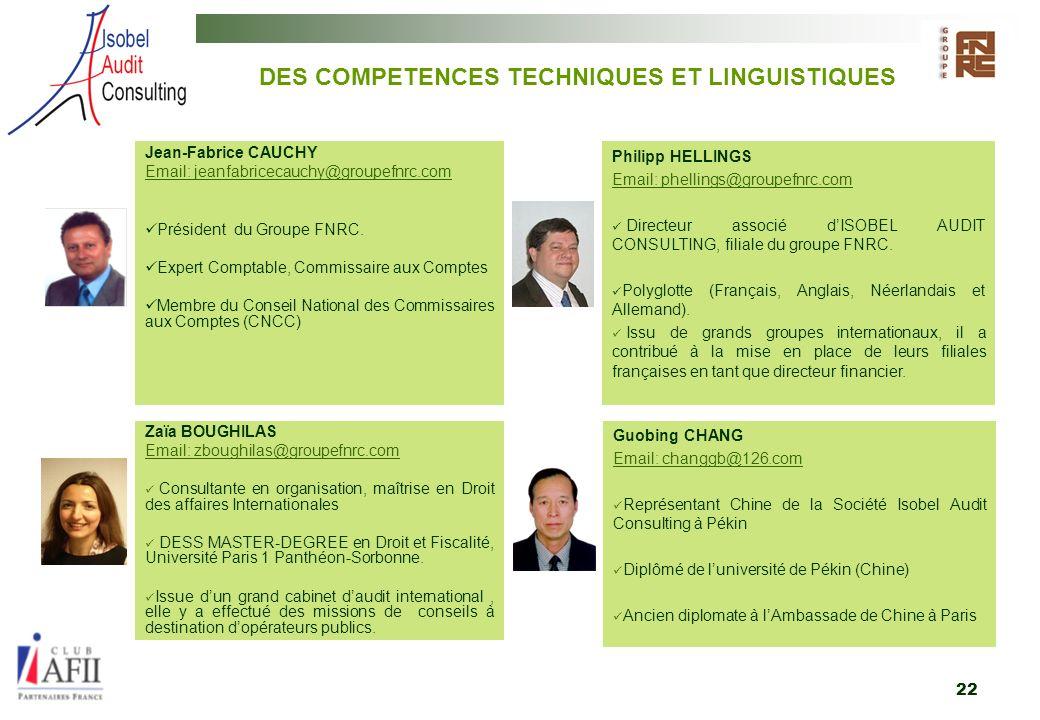 DES COMPETENCES TECHNIQUES ET LINGUISTIQUES