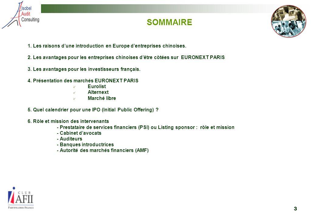 SOMMAIRE 1. Les raisons d'une introduction en Europe d'entreprises chinoises.