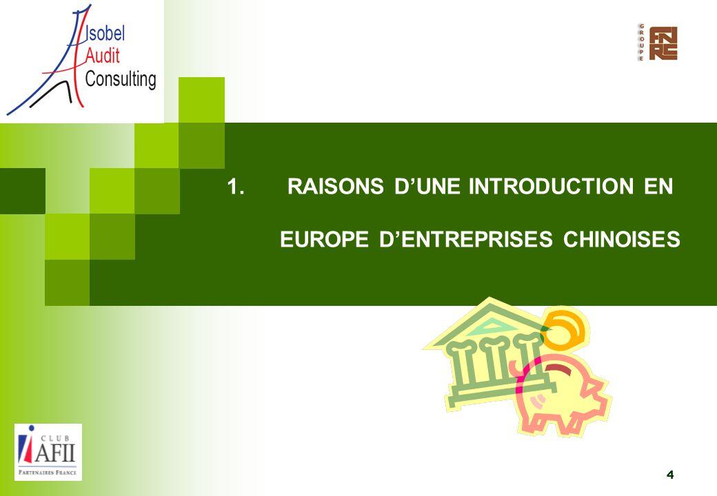 RAISONS D'UNE INTRODUCTION EN EUROPE D'ENTREPRISES CHINOISES