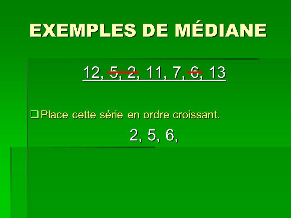 EXEMPLES DE MÉDIANE 12, 5, 2, 11, 7, 6, 13 Place cette série en ordre croissant. 2, 5, 6,