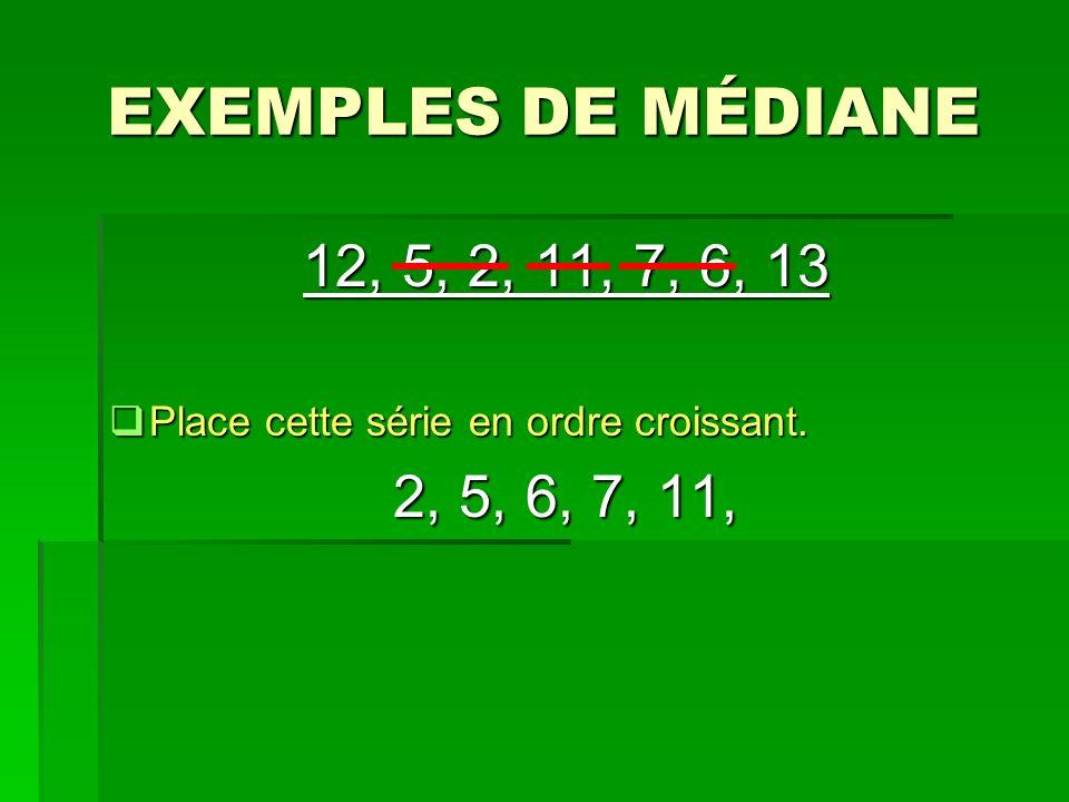 EXEMPLES DE MÉDIANE 12, 5, 2, 11, 7, 6, 13 Place cette série en ordre croissant. 2, 5, 6, 7, 11,