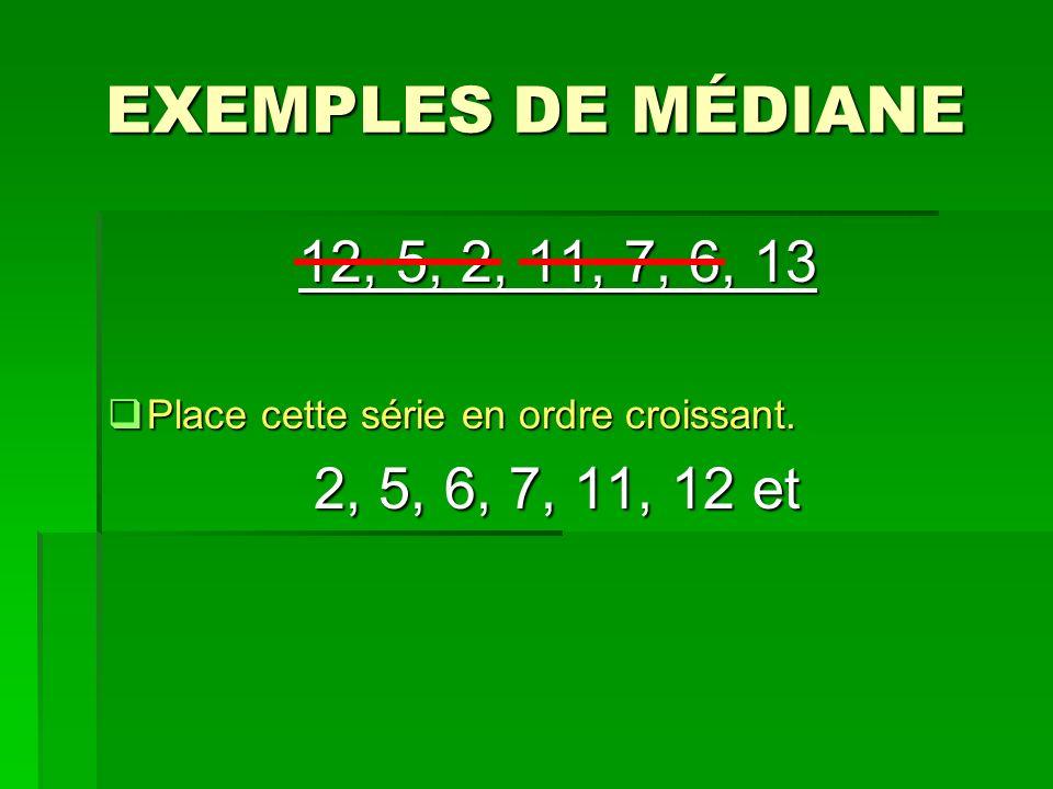 EXEMPLES DE MÉDIANE 12, 5, 2, 11, 7, 6, 13. Place cette série en ordre croissant.