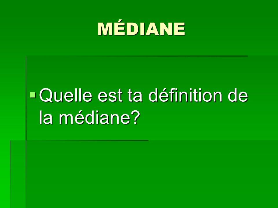 Quelle est ta définition de la médiane