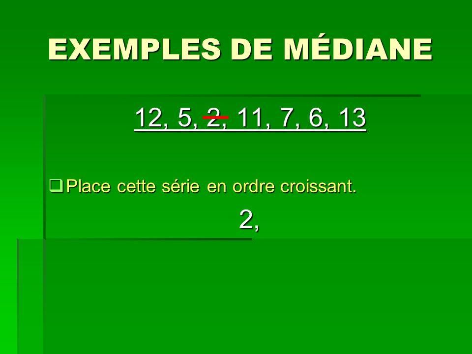 EXEMPLES DE MÉDIANE 12, 5, 2, 11, 7, 6, 13 Place cette série en ordre croissant. 2,