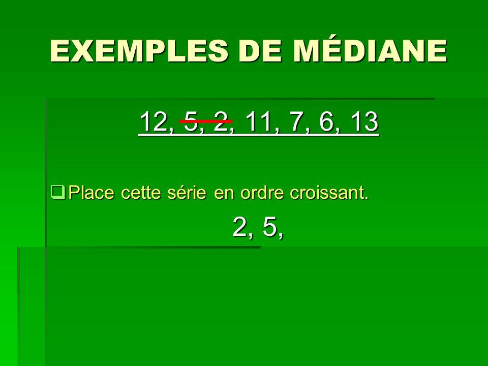 EXEMPLES DE MÉDIANE 12, 5, 2, 11, 7, 6, 13 Place cette série en ordre croissant. 2, 5,