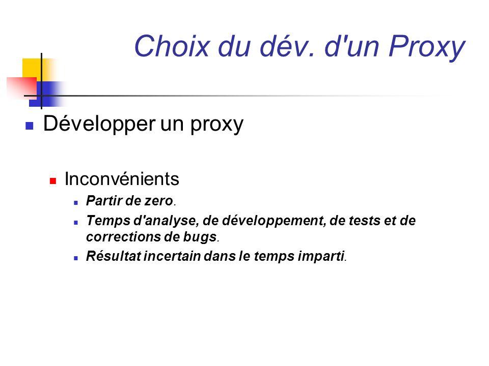 Choix du dév. d un Proxy Développer un proxy Inconvénients