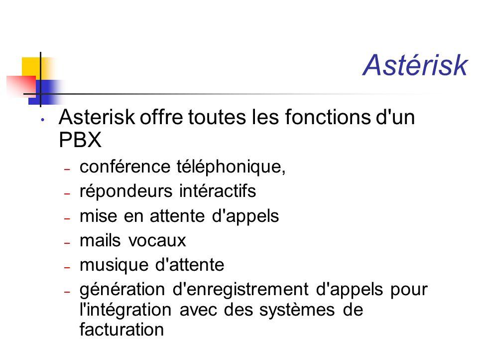 Astérisk Asterisk offre toutes les fonctions d un PBX