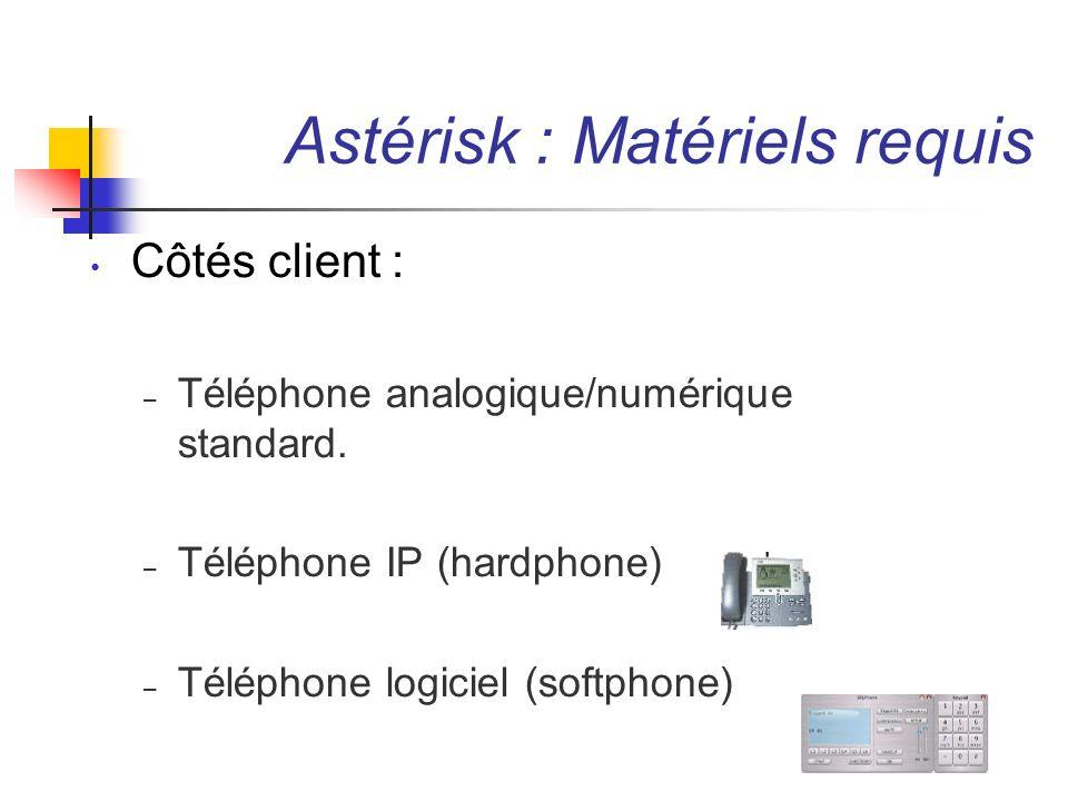 Astérisk : Matériels requis