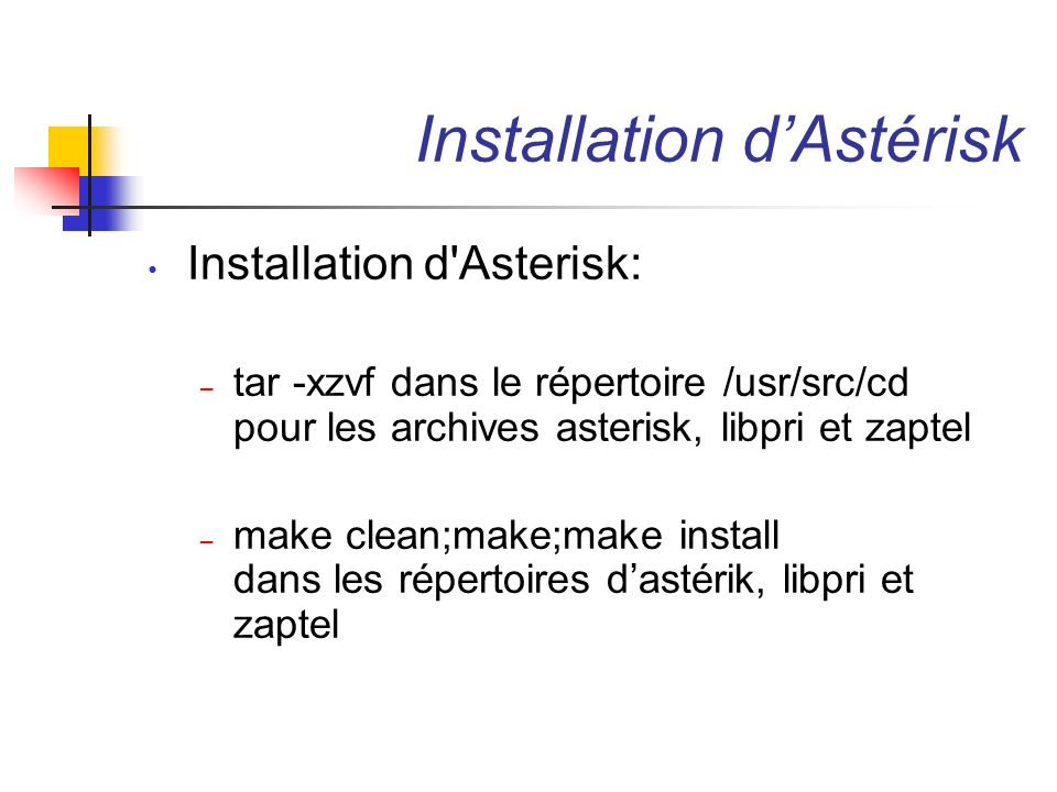 Installation d'Astérisk