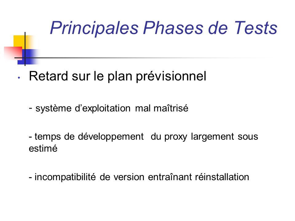 Principales Phases de Tests
