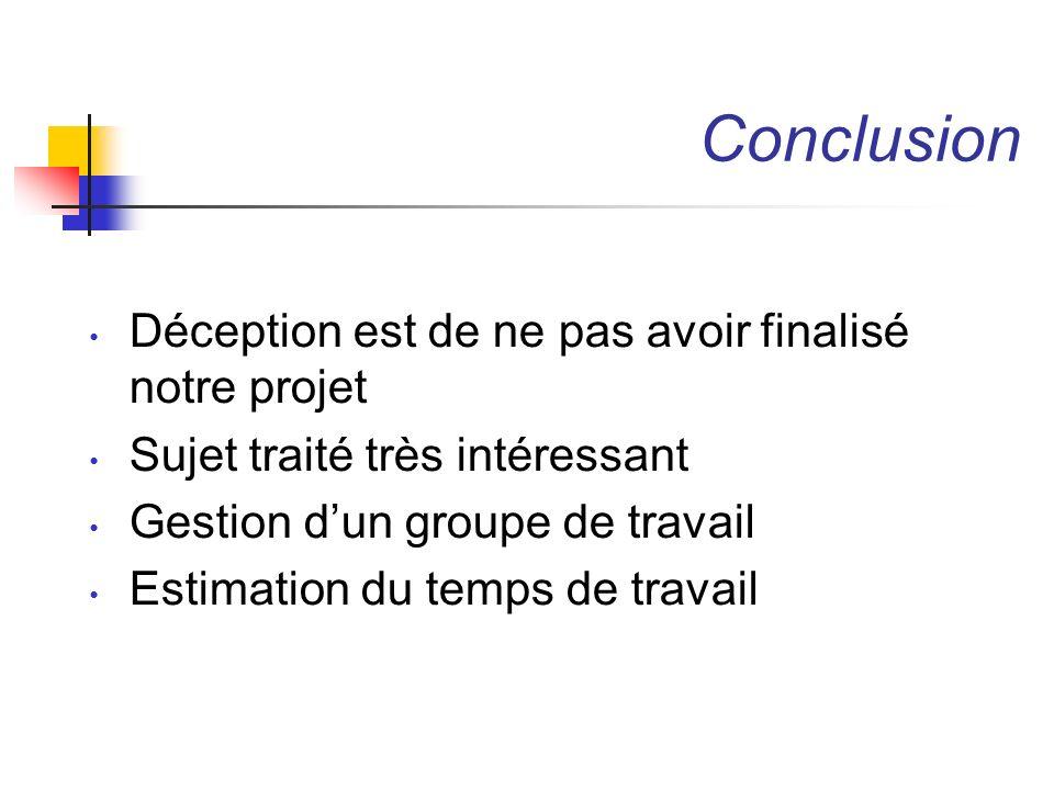 Conclusion Déception est de ne pas avoir finalisé notre projet