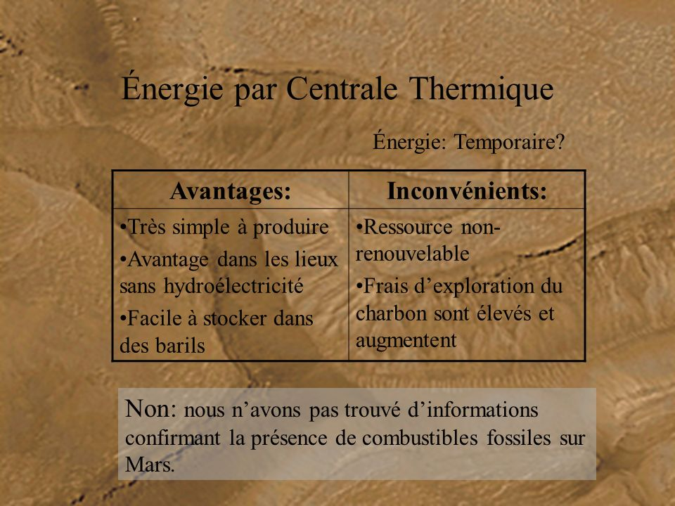 Énergie par Centrale Thermique