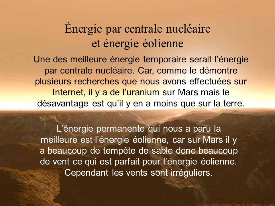 Énergie par centrale nucléaire et énergie éolienne