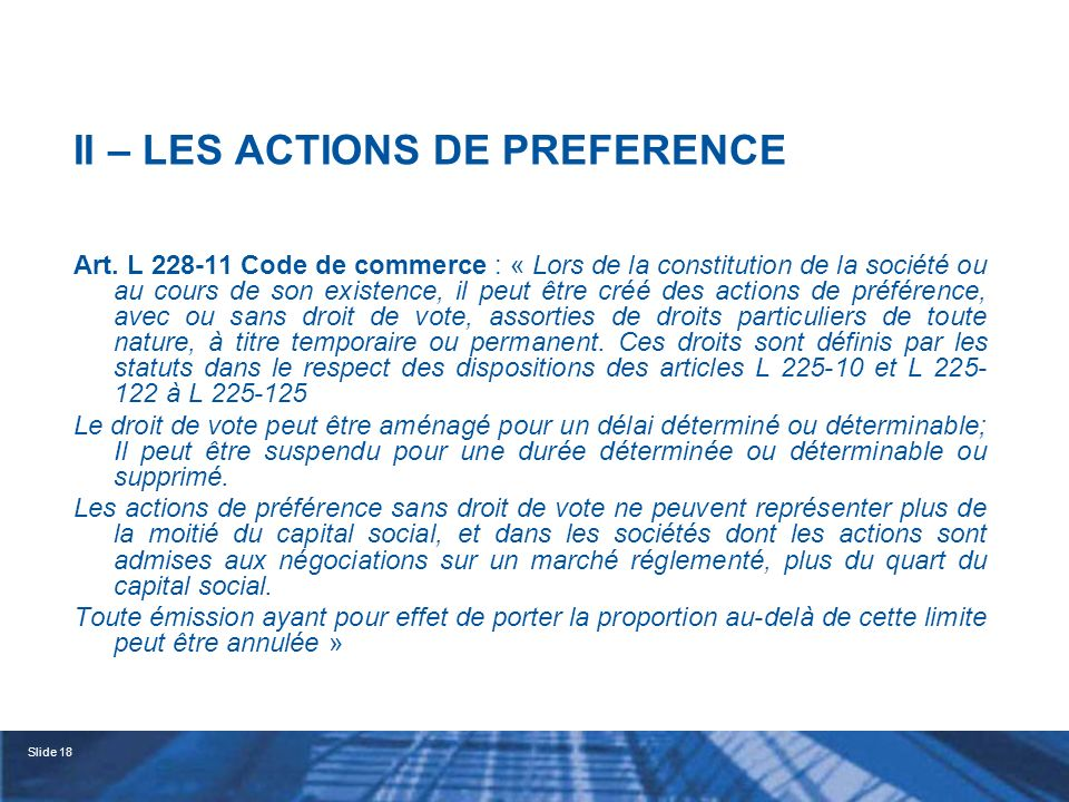 II – LES ACTIONS DE PREFERENCE