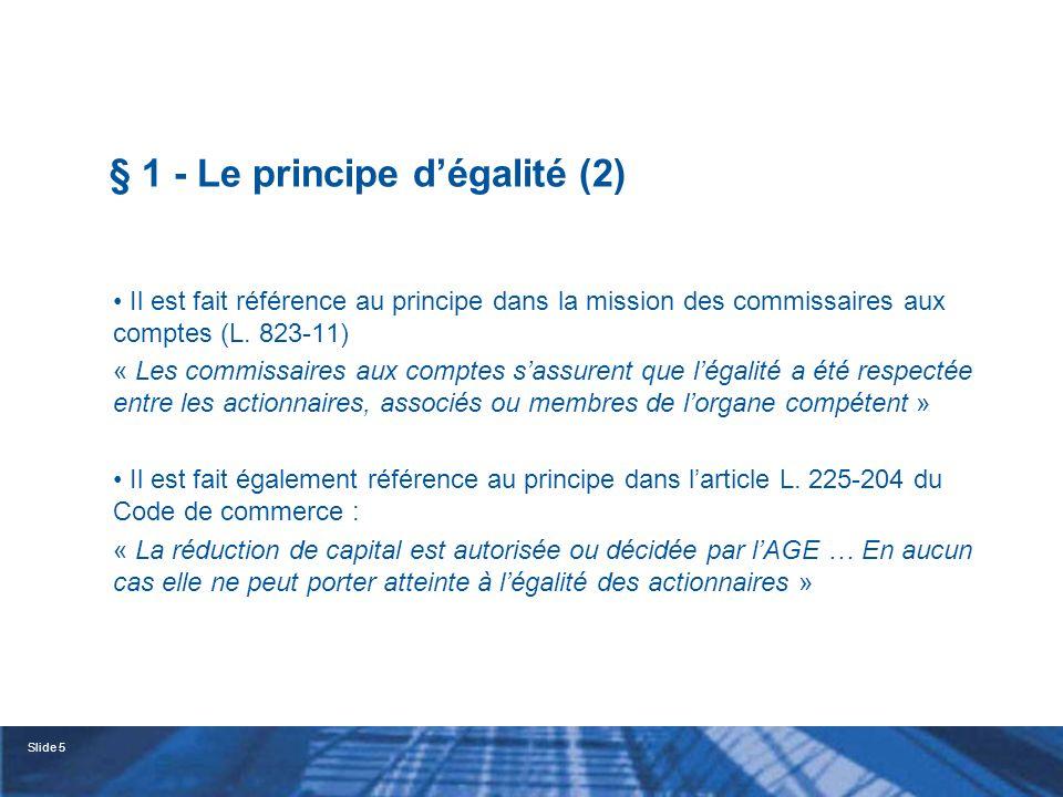 § 1 - Le principe d'égalité (2)