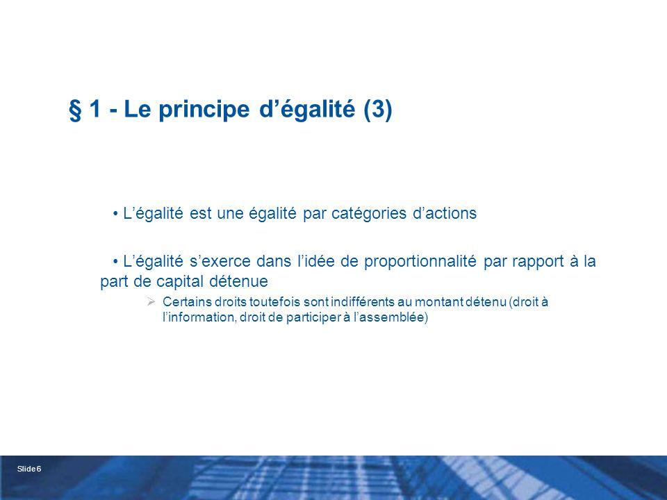 § 1 - Le principe d'égalité (3)