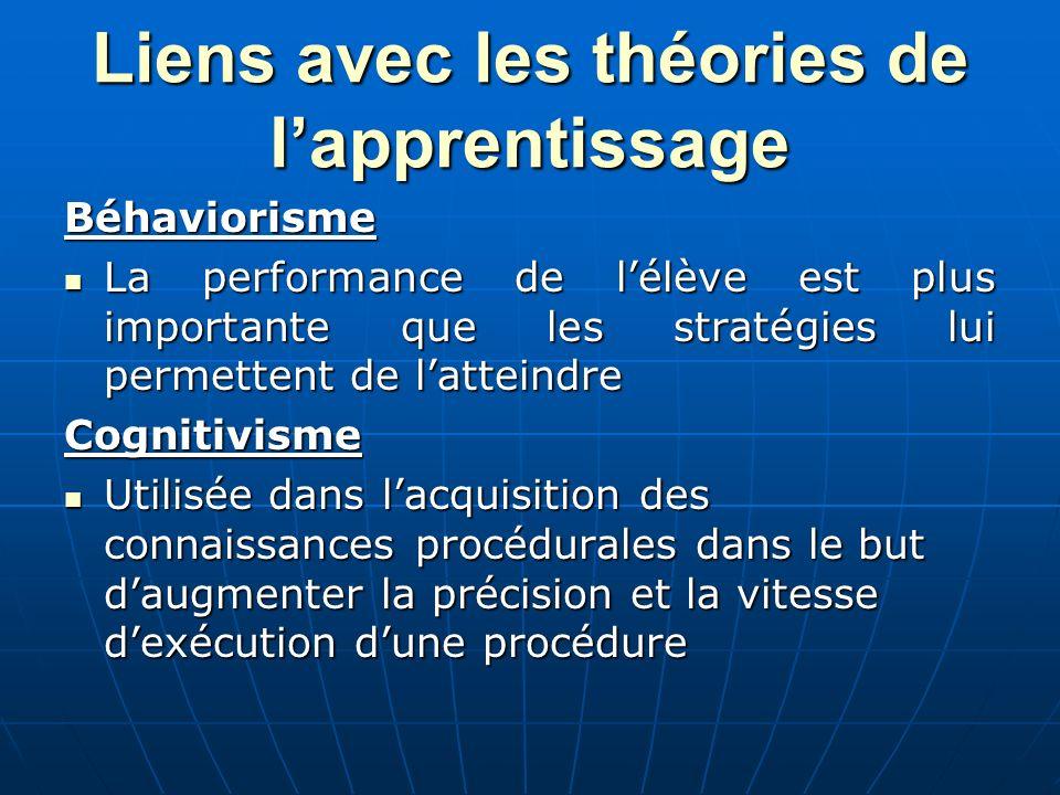 Liens avec les théories de l'apprentissage