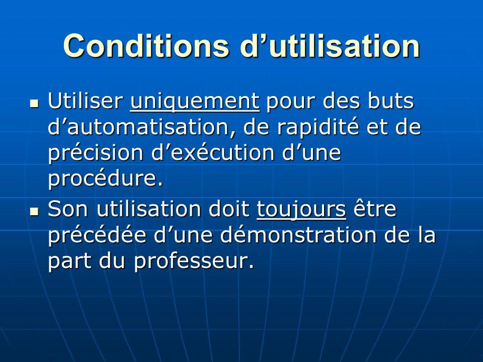 Conditions d'utilisation