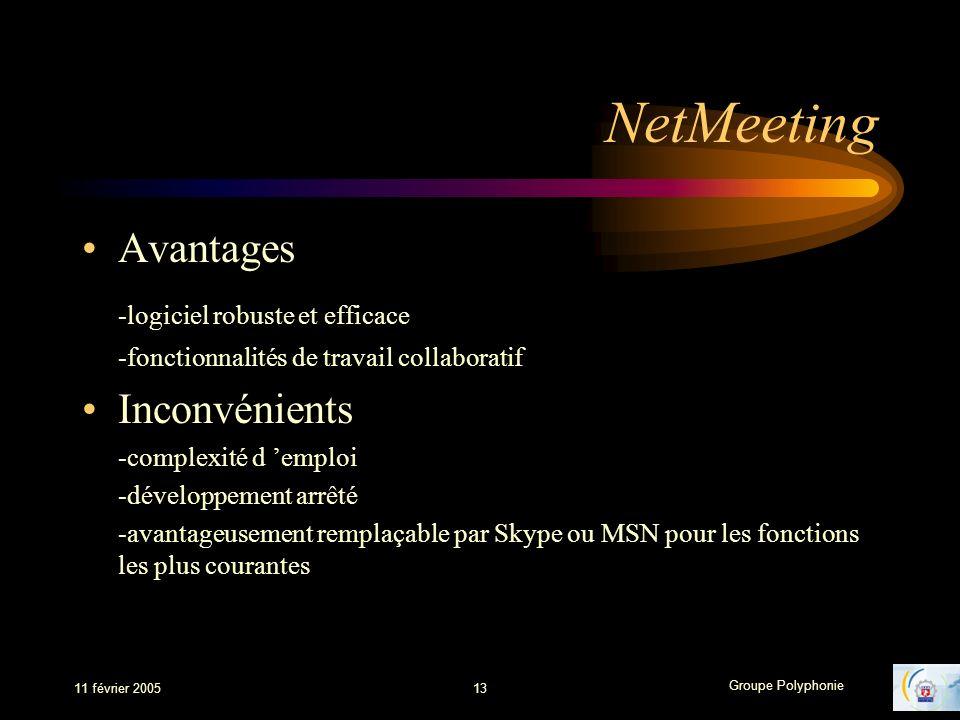 NetMeeting Avantages -logiciel robuste et efficace Inconvénients