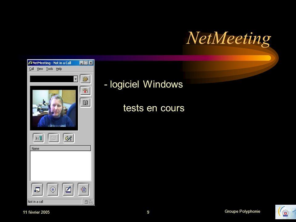 NetMeeting - logiciel Windows tests en cours 11 février 2005 9