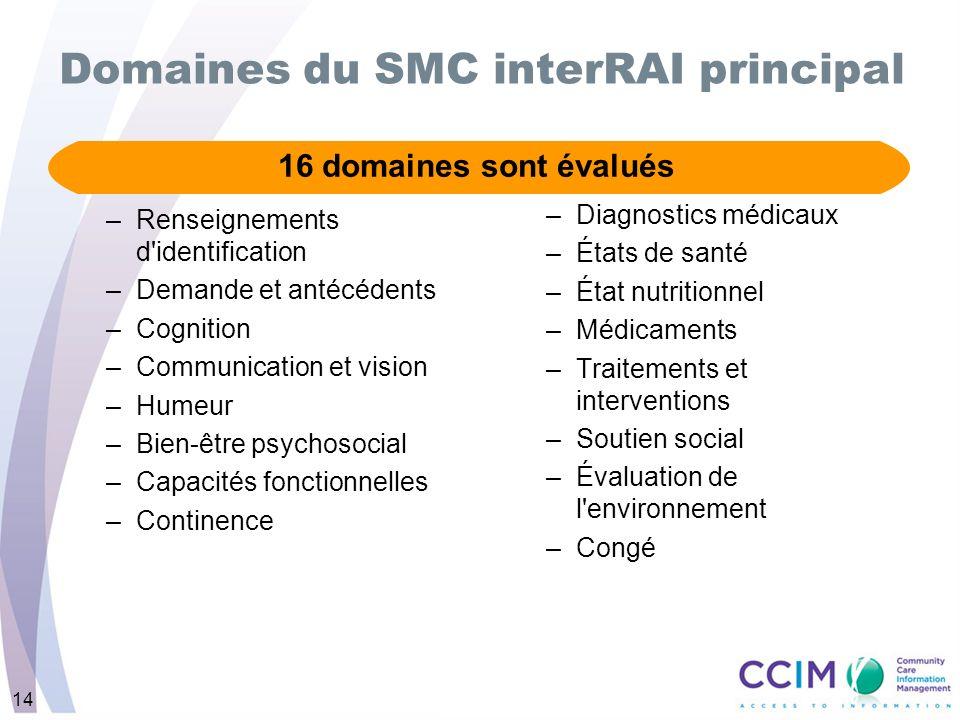 Domaines du SMC interRAI principal