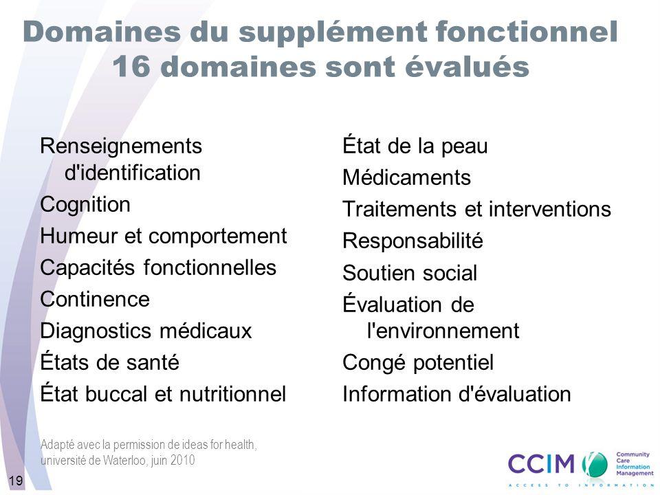 Domaines du supplément fonctionnel 16 domaines sont évalués