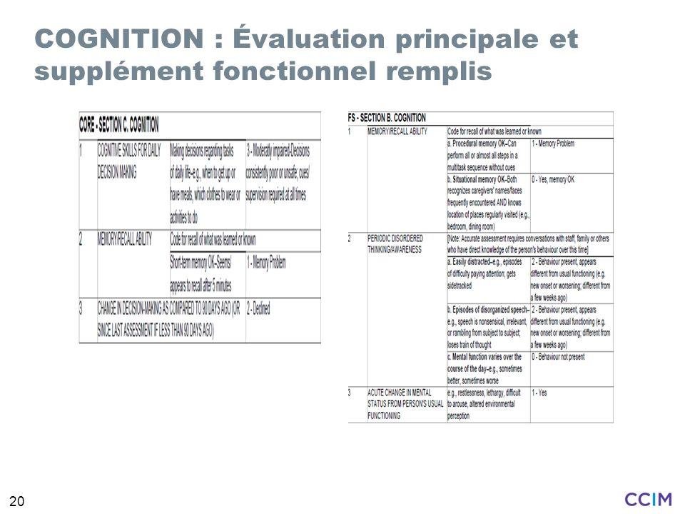 COGNITION : Évaluation principale et supplément fonctionnel remplis
