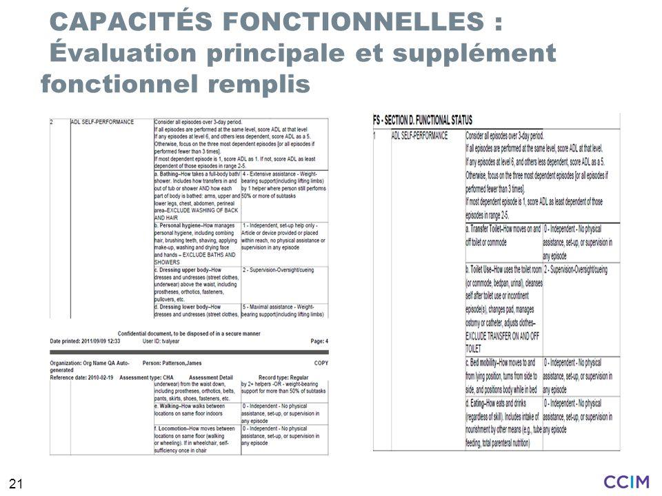 CAPACITÉS FONCTIONNELLES : Évaluation principale et supplément fonctionnel remplis