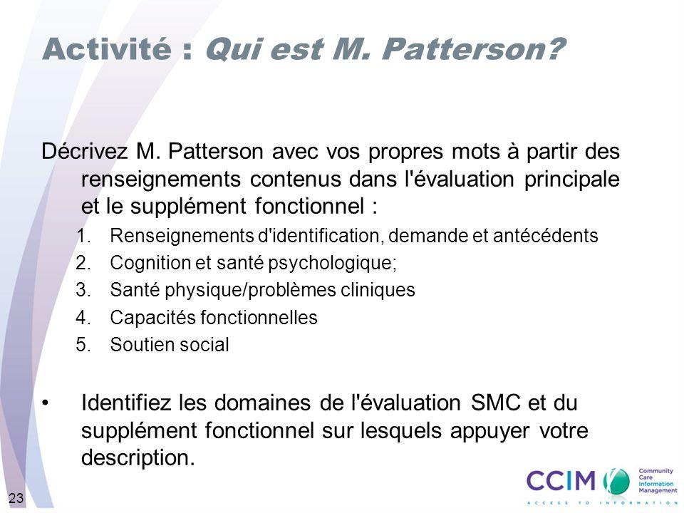 Activité : Qui est M. Patterson