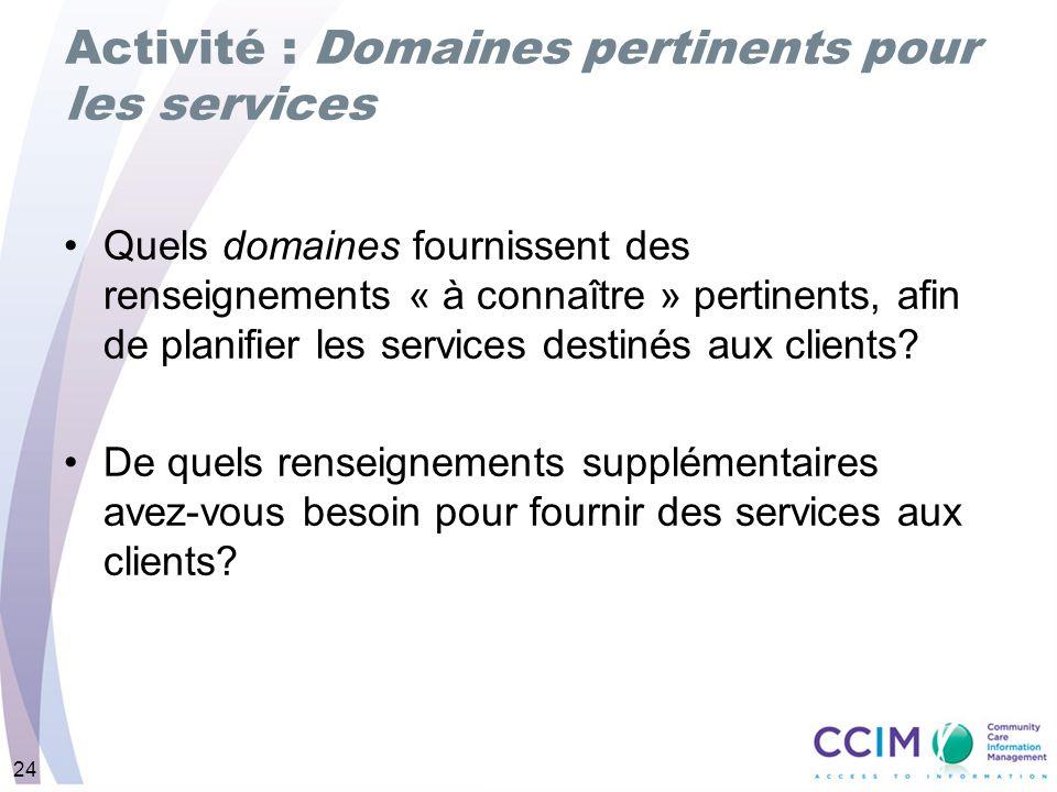 Activité : Domaines pertinents pour les services
