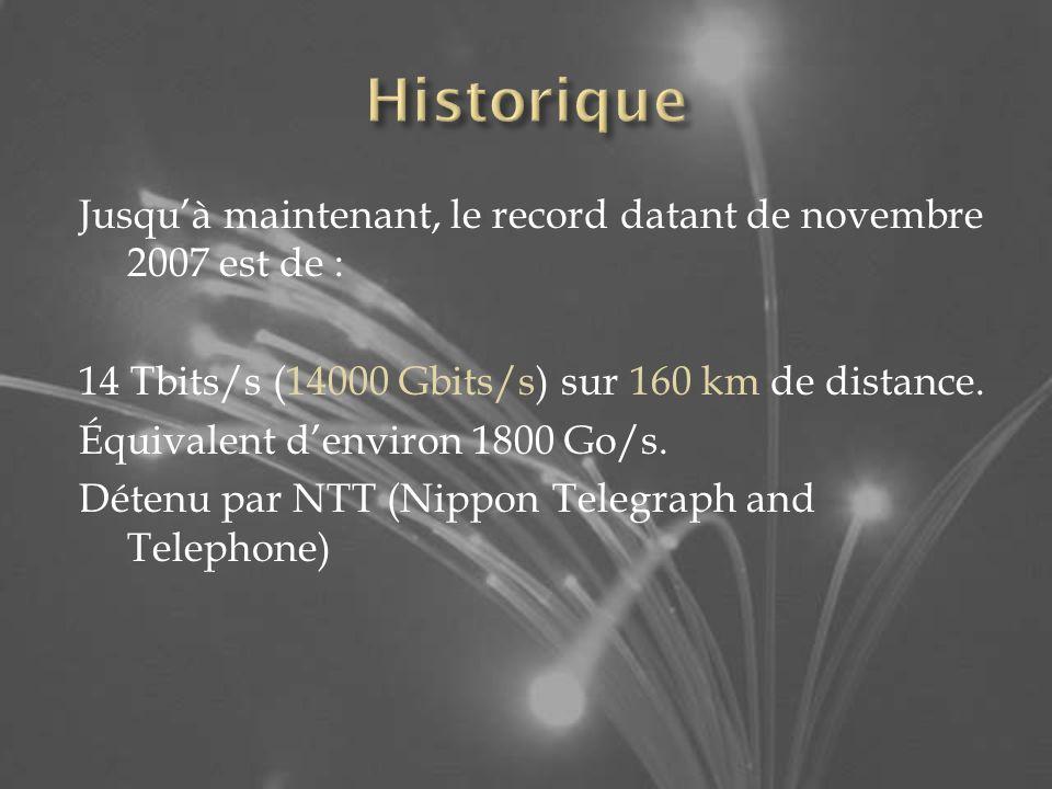 Historique Jusqu'à maintenant, le record datant de novembre 2007 est de : 14 Tbits/s (14000 Gbits/s) sur 160 km de distance.