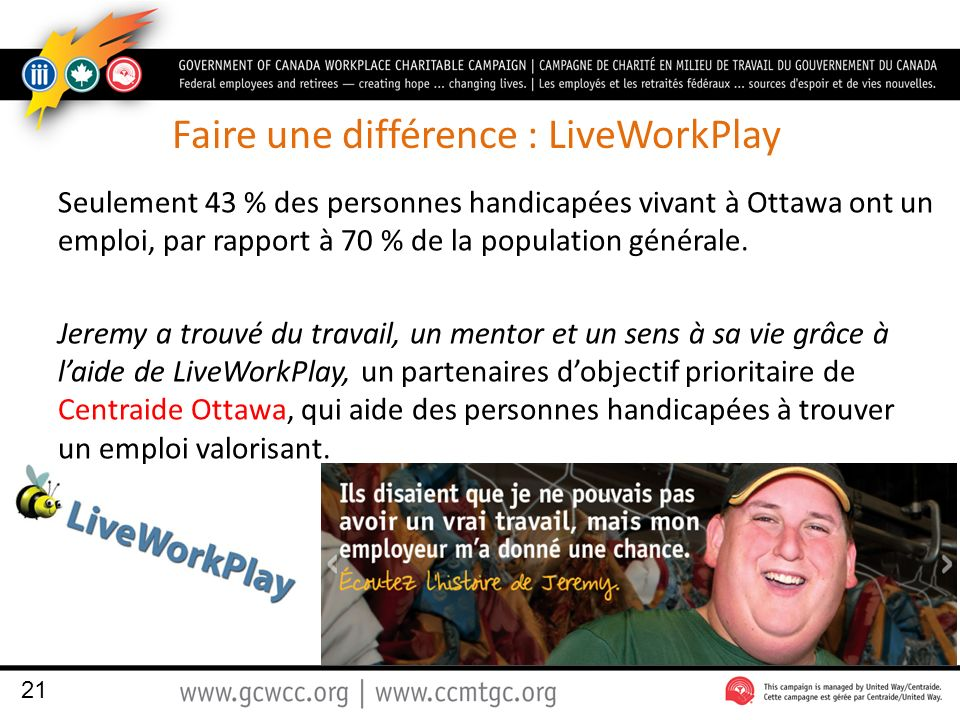 Faire une différence : LiveWorkPlay