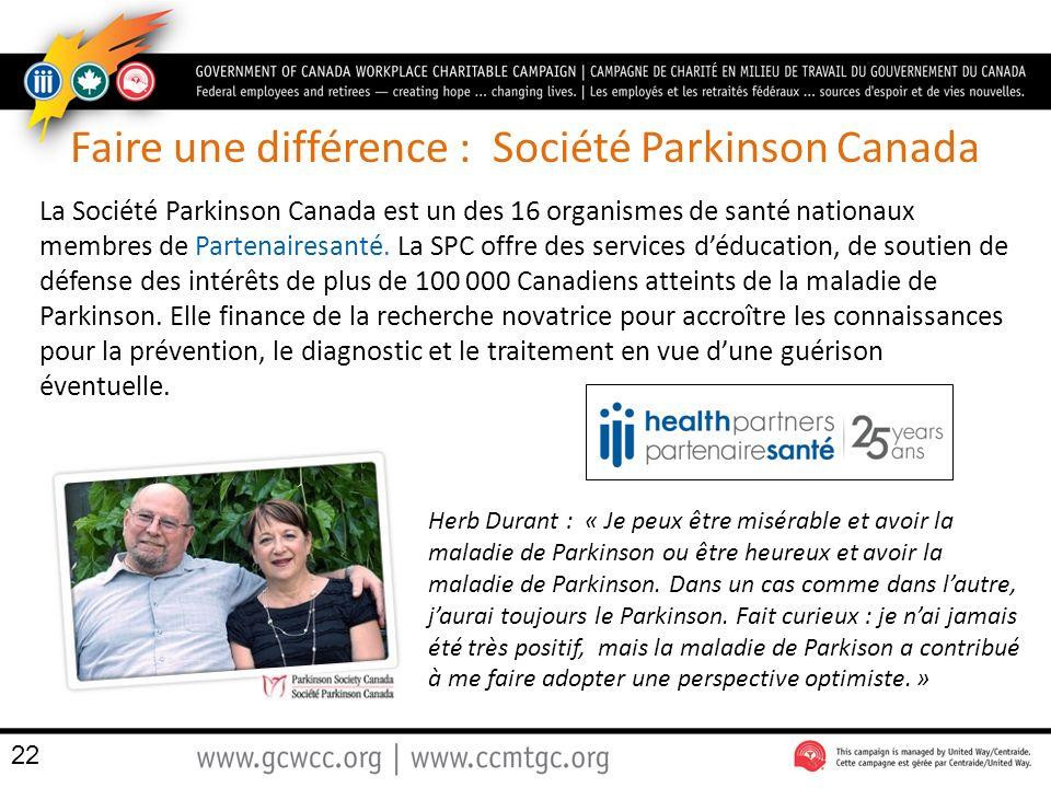 Faire une différence : Société Parkinson Canada