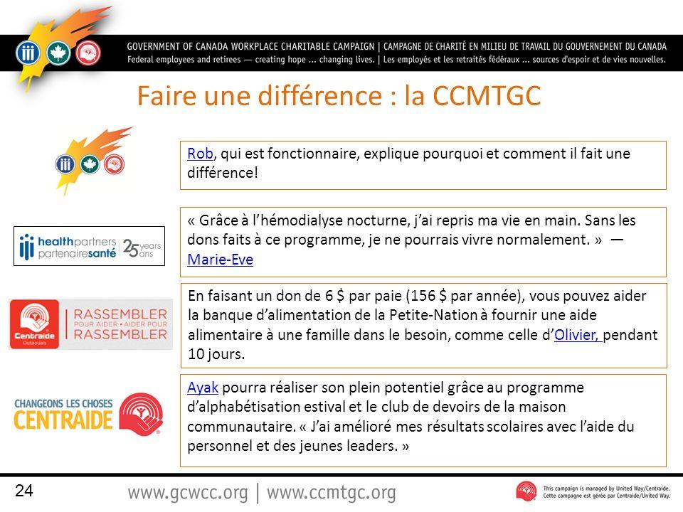 Faire une différence : la CCMTGC