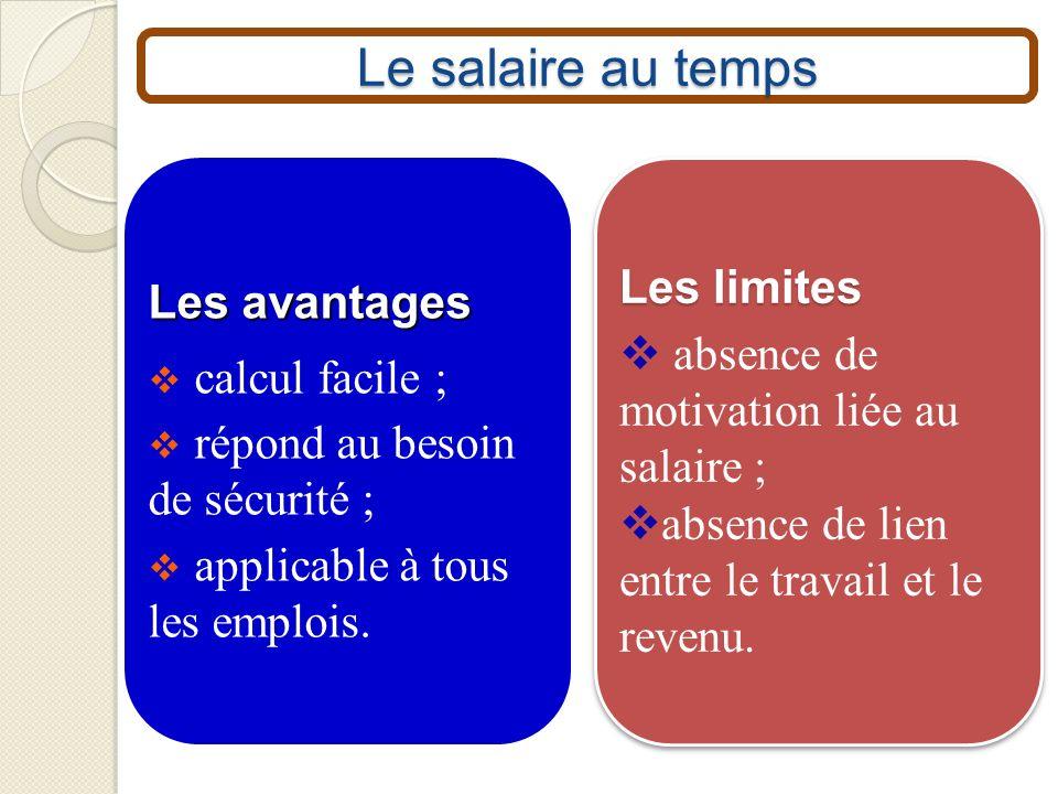 Le salaire au temps Les limites Les avantages