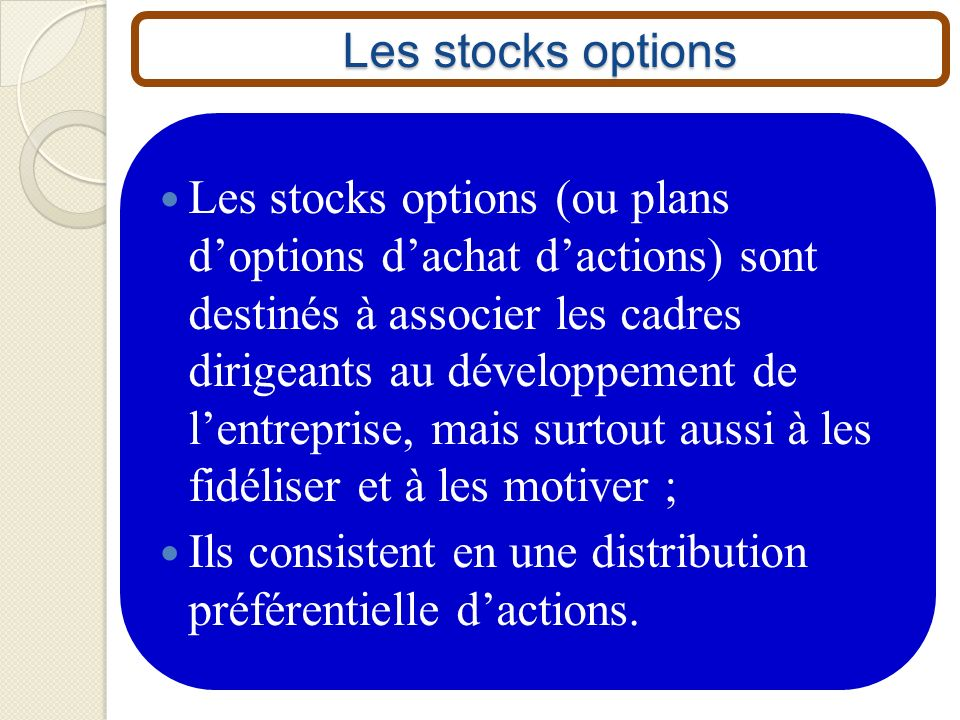 Les stocks options