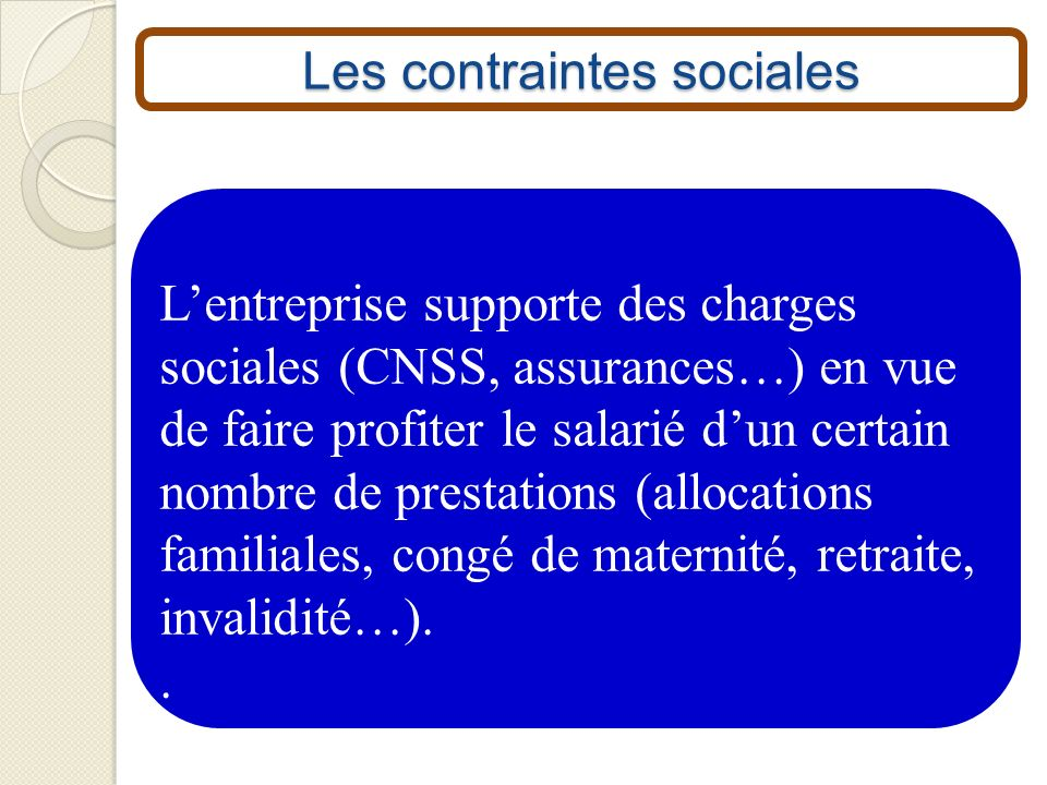 Les contraintes sociales