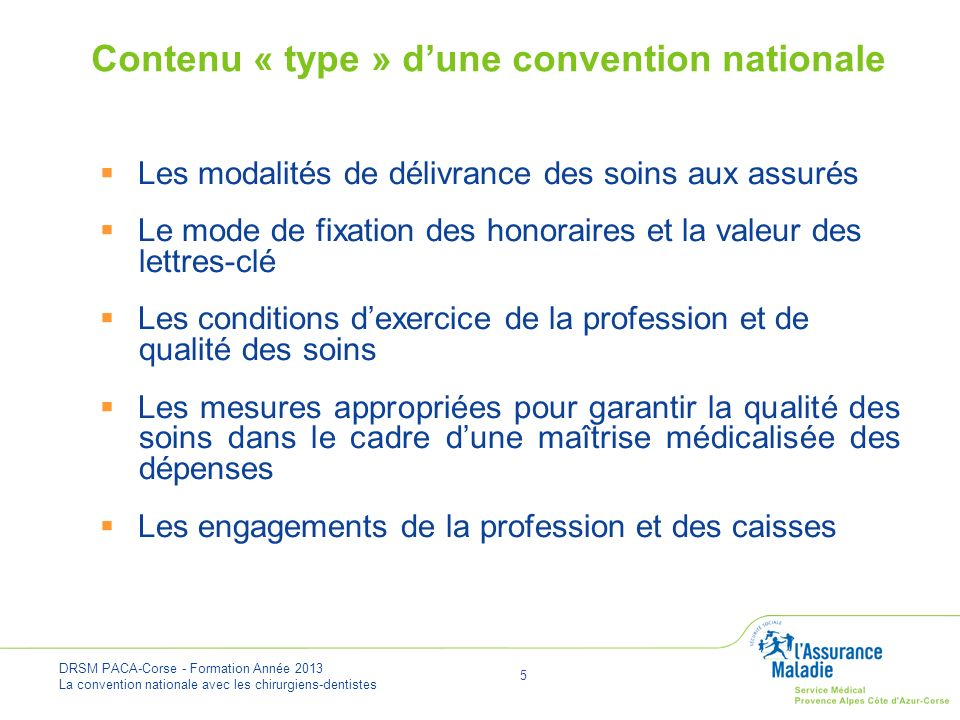 Contenu « type » d'une convention nationale