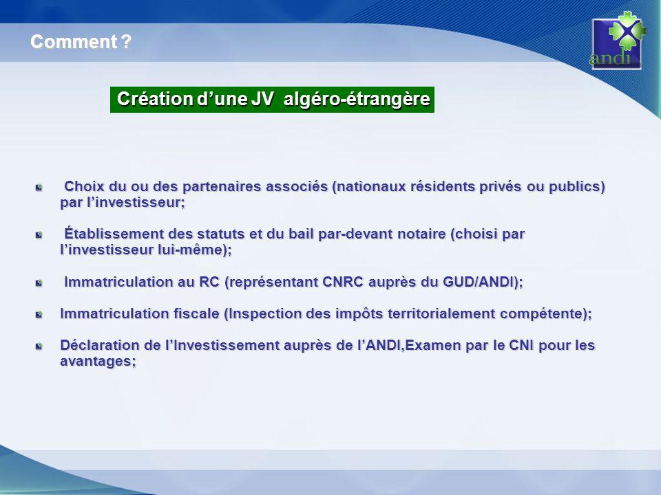 Création d'une JV algéro-étrangère