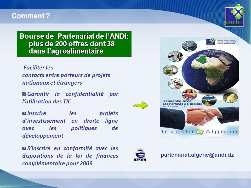 Comment Bourse de Partenariat de l'ANDI: plus de 200 offres dont 38 dans l'agroalimentaire. Faciliter les.