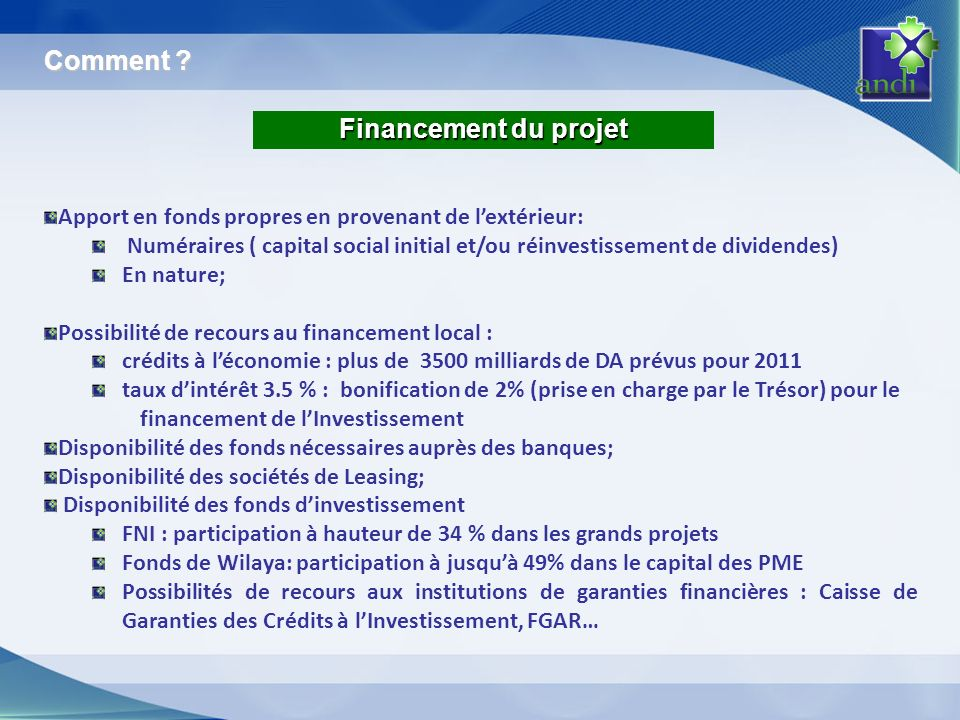 Comment Financement du projet