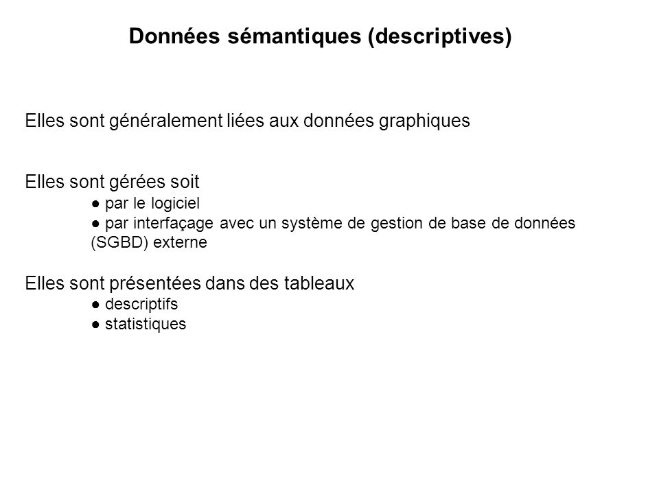 Données sémantiques (descriptives)