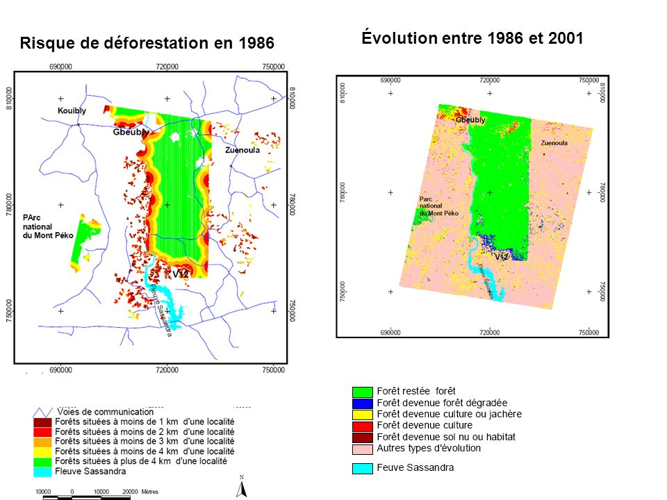 Évolution entre 1986 et 2001 Risque de déforestation en 1986