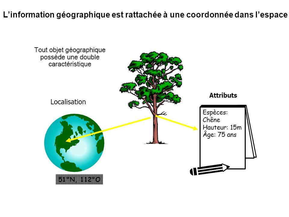 L'information géographique est rattachée à une coordonnée dans l'espace