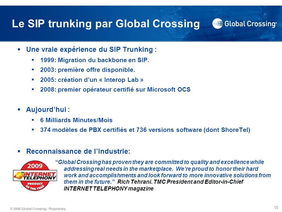 Le SIP trunking par Global Crossing