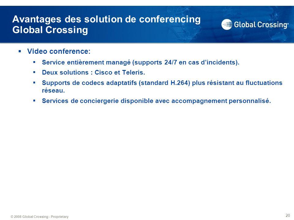 Avantages des solution de conferencing Global Crossing