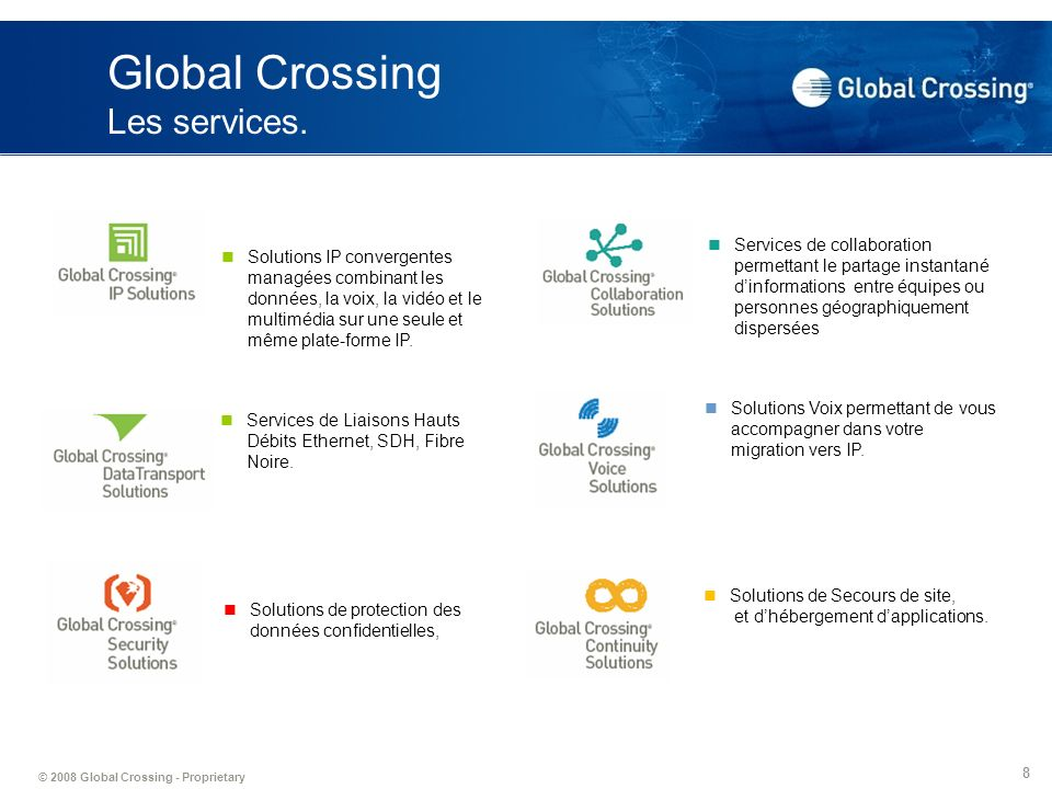 Global Crossing Les services.