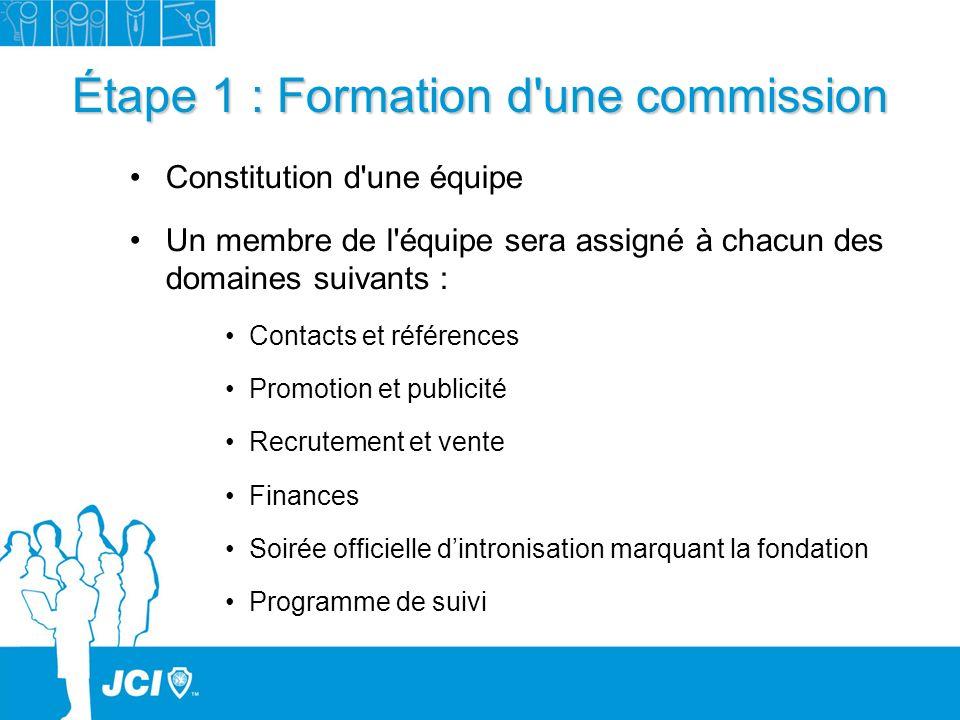 Étape 1 : Formation d une commission